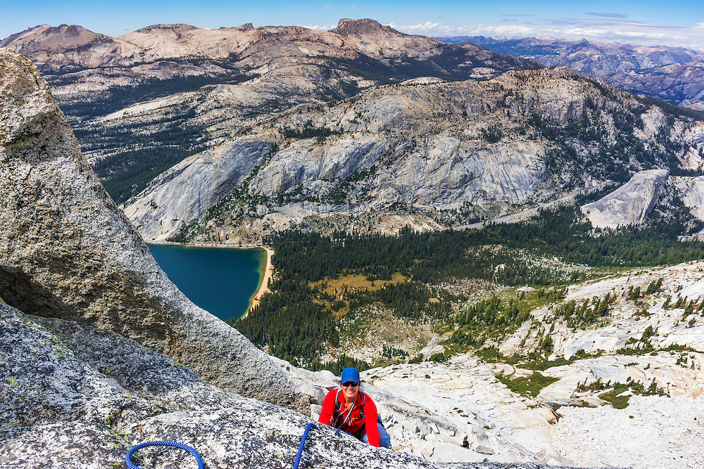 Rock climber on Tenaya Peak, Tuolumne Meadows, Yosemite National Park, California