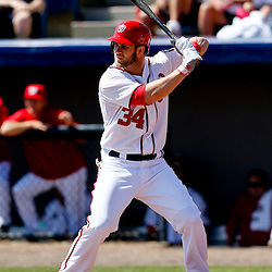 Mar 8, 2013; Melbourne, FL, USA; Washington Nationals center fielder Bryce Harper (34) at bat against the St. Louis Cardinals during the bottom of the first inning of a spring training game at Space Coast Stadium. Mandatory Credit: Derick E. Hingle-USA TODAY Sports