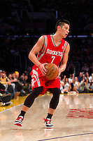 18 November 2012: Guard (7) Jeremy Lin of the Houston Rockets in game action against the Los Angeles Lakers during the first half of the Lakers 119-108 victory over the Rockets at the STAPLES Center in Los Angeles, CA.