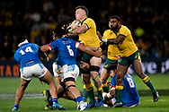 SYDNEY, AUSTRALIA - SEPTEMBER 07: Jack Dempsey of the Wallabies pushes away from TJ Ioane of Samoa during the international rugby test match between the Australian Wallabies and Manu Samoa on September 07, 2019 at Bankwest Stadium in Sydney, Australia. (Photo by Speed Media/Icon Sportswire)