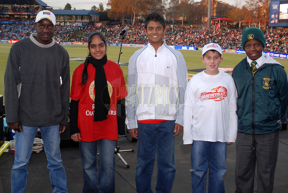 CENTURION, SOUTH AFRICA - 21 May 2009. Mellody Zulu, Ziana Nawaz, SaijenChetty, AJ McCartney and Thapelo Motaung winners of the IPL schools bursary  during the DLF IPL Season 2 match between the Deccan Chargers and the Royal Challengers Bangalore held at Supersport Park  in Centurion, South Africa..