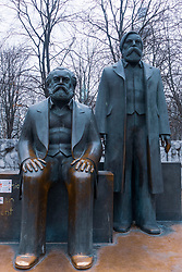 Statues of Karl Marx and Friedrich Engels the marxist and philosopher at Alexanderplatz in Berlin, Germany