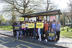 © Licensed to London News Pictures. 06/04/17. Shirley, Croydon, UK. Various refugee support groups from Croydon have come together to place orange ribbons in support of refugees being made welcome into the UK following an attach on a teenage asylum seeker on the Shrublands estate in Croydon last Friday, 31st March.  Photo credit: Grant Melton/LNP