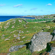 View overlooking the Iron Age House at the beach on Great Bernera, Isle of Lewis, Outer Hebridies