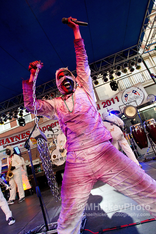 Here Come the Mummies performs at the Haynes-Apperson Festival in Kokomo, Indiana on June 30, 2011..Photo by Michael Hickey
