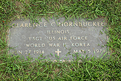 31 August 2017:   Veterans graves in Park Hill Cemetery in eastern McLean County.<br /> <br /> Clarence C Hornbuckle  Illinois  Technical Sergeant  US Air Force  World War II  Korea  Jun 27 1914  May 5 1974
