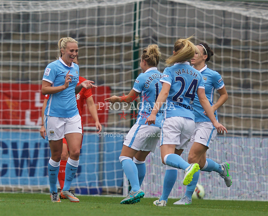 MANCHESTER, ENGLAND - Sunday, August 30, 2015: Manchester City's Toni Duggan celebrates scoring a penalty against Liverpool during the League Cup Group 2 match at the Academy Stadium. (Pic by Paul Currie/Propaganda)
