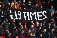 Football - FA Cup Fourth Round - Liverpool vs. Manchester United<br /> Manchester United fans remind Liverpool fans of their extra league title at Anfield