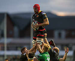 Dragons' Cory Hill claims the lineout<br /> <br />  - Mandatory by-line: Craig Thomas/JMP - 15/09/2017 - RUGBY - Rodney Parade - Newport, Gwent, Wales - Newport Gwent Dragons v Connacht Rugby - Guinness Pro 14