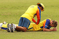 Doug Bollinger of the Chennai Super Kings receives treatment fron the team physio during the Superkings  training session held at St Georges Park in Port Elizabeth on the 17 September 2010..Photo by: Shaun Roy/SPORTZPICS/CLT20