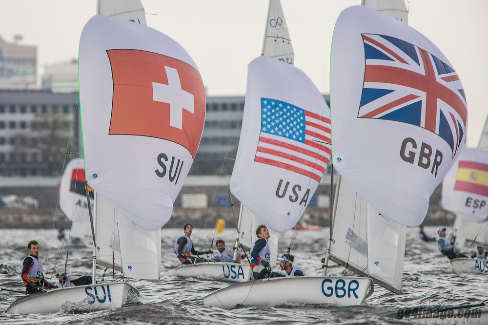 470M SUI Yannick Brauchli SUIYB1 Romuald Hausser SUIHR1<br /> 470M GBR Luke Patience GBRLP11 Chris Crube GBRCG29<br /> 470M USA Stu McNay USASM24 Dave Hughes USADH5<br /> <br /> 2016 Olympic Games <br /> Rio de Janeiro