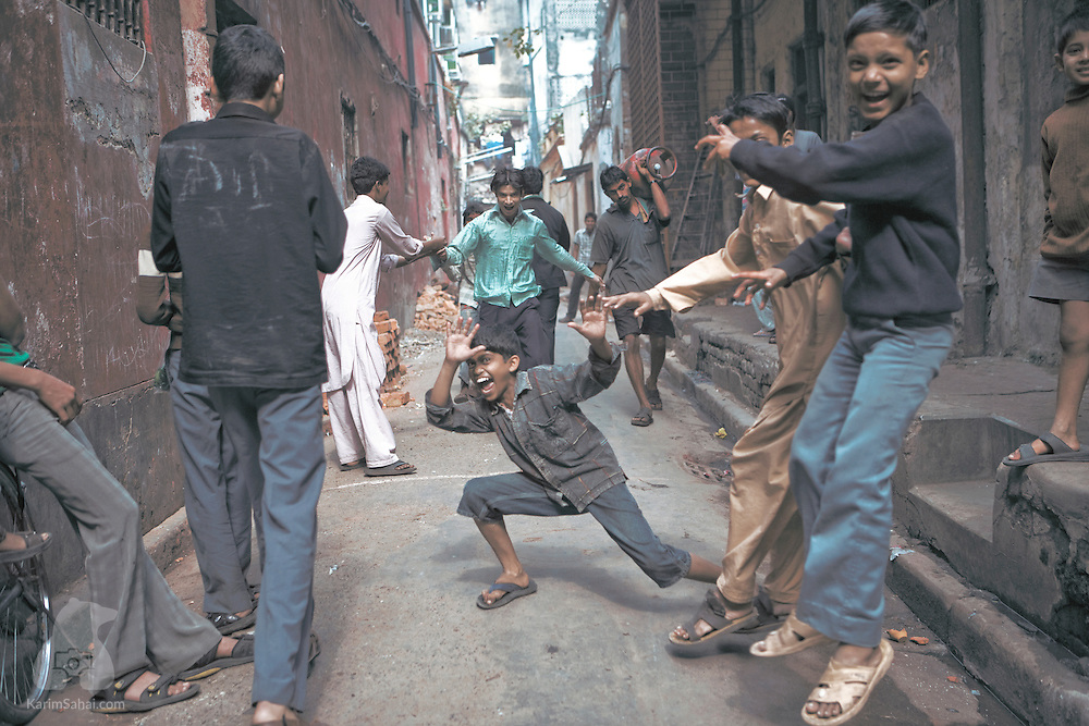 Children playing in the street, Kolkata, West Bengal, India.
