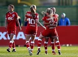 Millie Farrow of Bristol City Women celebrates scoring a goal with her teammates - Mandatory by-line: Robbie Stephenson/JMP - 02/01/2012 - FOOTBALL - Stoke Gifford Stadium - Bristol, England - Bristol City Women v Aston Villa Ladies - FA Women's Super League 2