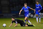 Wigan Athletic midfielder Sam Morsy (5) and Gillingham FC midfielder Jake Hessenthaler (8) during the EFL Sky Bet League 1 match between Gillingham and Wigan Athletic at the MEMS Priestfield Stadium, Gillingham, England on 17 October 2017. Photo by Martin Cole.