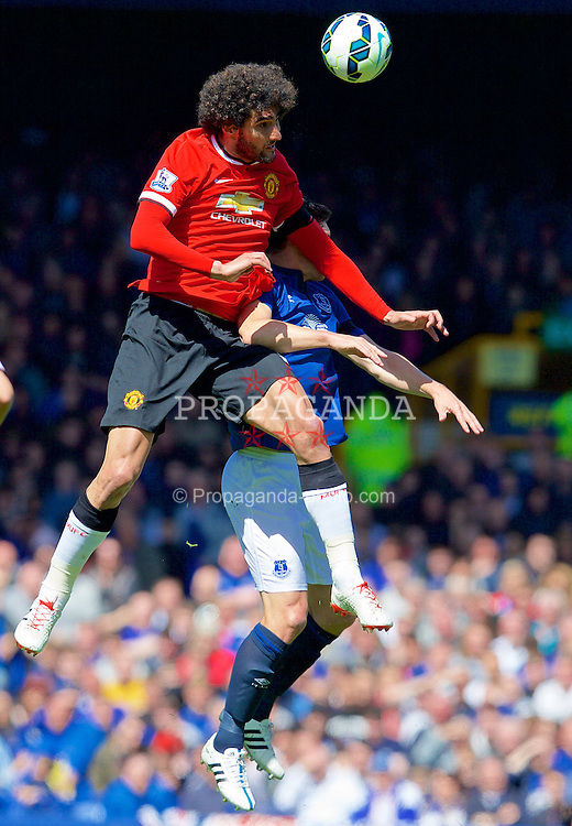 LIVERPOOL, ENGLAND - Sunday, April 26, 2015: Manchester United's Marouane Fellaini in action against Everton during the Premier League match at Goodison Park. (Pic by David Rawcliffe/Propaganda)