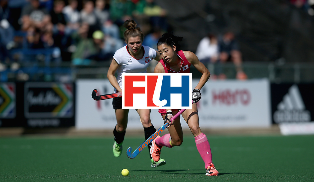 JOHANNESBURG, SOUTH AFRICA - JULY 14: Hazuki Yuda of Japan and Amelia Katerla of Poland battle for possession  during day 4 of the FIH Hockey World League Semi Finals Pool B match between Poland and Japan at Wits University on July 14, 2017 in Johannesburg, South Africa. (Photo by Jan Kruger/Getty Images for FIH)