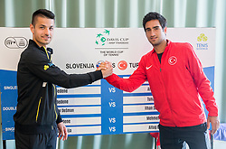 Mike Urbanija of Slovenia and Mehmet Cem Ilkel of Turkey during Official Draw of Davis Cup 2018 Europe/Africa zone Group II between Slovenia and Turkey, on April 6, 2018 in Portoroz / Portorose, Slovenia. Photo by Vid Ponikvar / Sportida