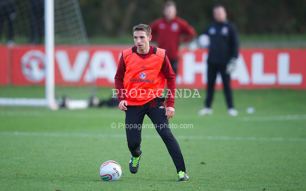 CARDIFF, WALES - Monday, February 4, 2013: Wales' Joe Allen during a training session at the Vale of Glamorgan Hotel ahead of the International Friendly against Austria. (Pic by David Rawcliffe/Propaganda)
