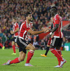 Graziano Pelle of Southampton and Sadio Mane of Southampton - Mandatory byline: Paul Terry/JMP - 07966386802 - 20/08/2015 - FOOTBALL - ST Marys Stadium -Southampton,England - Southampton v FC Midtjylland - EUROPA League Play-Off Round