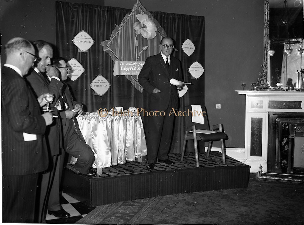 "07/06/1962<br /> 06/07/1962<br /> 07 June 1962 <br /> ""Light and Lovely"" new Coty Make-up range, reception at the Shelbourne Hotel, Dublin. Mr. M.F. Landon, Chief Perfumier, Coty House, London, speaking at the event."