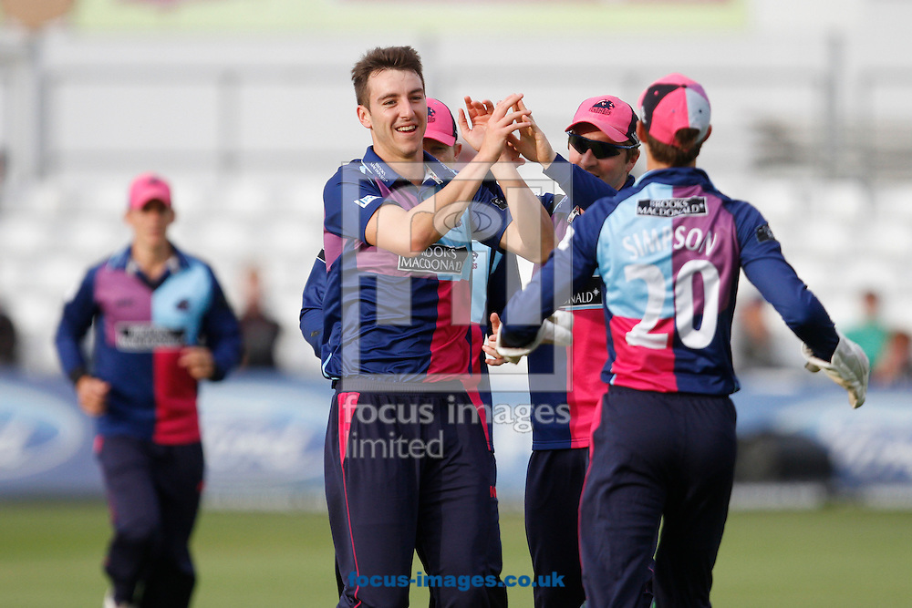 Picture by Daniel Chesterton/Focus Images Ltd. 07966 018899.18/07/12.Toby Roland-Jones of Middlesex Panthers celebrates bowling Greg Smith of Essex Eagles during the Clydesdale Bank 40 match at The Ford County Ground, Chelmsford, Essex.