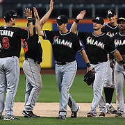 The Miami Marlins celebrate victory during the New York Mets V Miami Marlins, Major League Baseball game which went for 20 innings and lasted 6 hours and 25 minutes. The Marlins won the match 2-1. Citi Field, Queens, New York. 8th June 2013. Photo Tim Clayton
