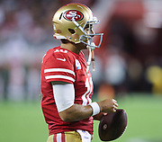 San Francisco 49ers quarterback Jimmy Garoppolo (10) waits between plays during an NFL football game against the Cleveland Browns, Monday, Oct. 7, 2019, in Santa Clara, Calif. The 49ers defeated the Browns (Peter Klein/Image of Sport)