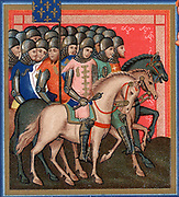 Band of Crusaders armed and mounted. Detail from 15th century 'Statues of Order of Saint Esprit'. Chromolithograph