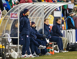 The USA Bench during the Mexico game.  The United States men's soccer team defeated the Mexican national team 2-0 in CONCACAF final group qualifying for the 2010 World Cup at Columbus Crew Stadium in Columbus, Ohio on February 11, 2009.