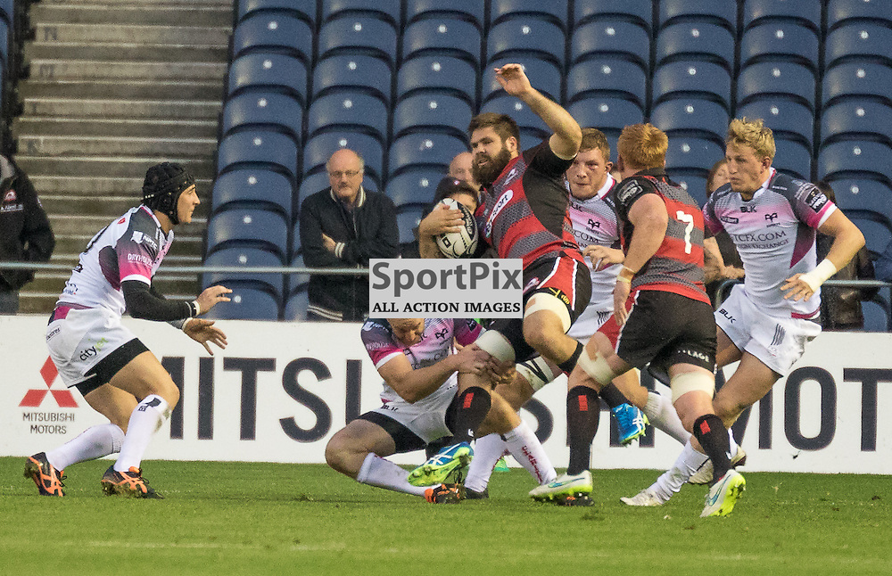 Edinburgh Rugby #8 Cornell DU PREEZ tries the ariel route.  Edinburgh Rugby v Ospreys, 2nd October 2015