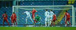 LEEDS, ENGLAND - Tuesday, December 2, 2008: Liverpool's Joe Kennedy and goalkeeper Dean Bouzanis are beaten by Leeds United's Michael Whitwell for the equalising goal during the FA Youth Cup 3rd Round at Elland Road. (Photo by David Rawcliffe/Propaganda)