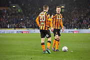 Hull City midfielder Sebastian Larsson (16) and Hull City forward Jarrod Bowen (20) over a free kick during the EFL Sky Bet Championship match between Hull City and Aston Villa at the KCOM Stadium, Kingston upon Hull, England on 31 March 2018. Picture by Mick Atkins.
