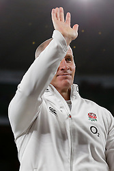 England Head Coach Stuart Lancaster waves after England win the match but come up just 6 points short of winning the Six Nations Championship - Photo mandatory by-line: Rogan Thomson/JMP - 07966 386802 - 21/03/2015 - SPORT - RUGBY UNION - London, England - Twickenham Stadium - England v France - 2015 RBS Six Nations Championship.