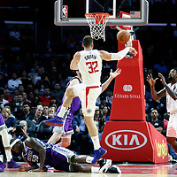 12 October 2017: LA Clippers forward Blake Griffin (32) passes the ball to LA Clippers center DeAndre Jordan (6) during the LA Clippers 104-87 victory over the Sacramento Kings, at the Staples Center, Los Angeles, California, USA.