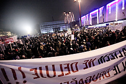 Protesters carry signs against political elites gather in The Republic square in Ljubljana, Slovenia, December 23, 2012. Photo by Imago / i-Images...UK ONLY