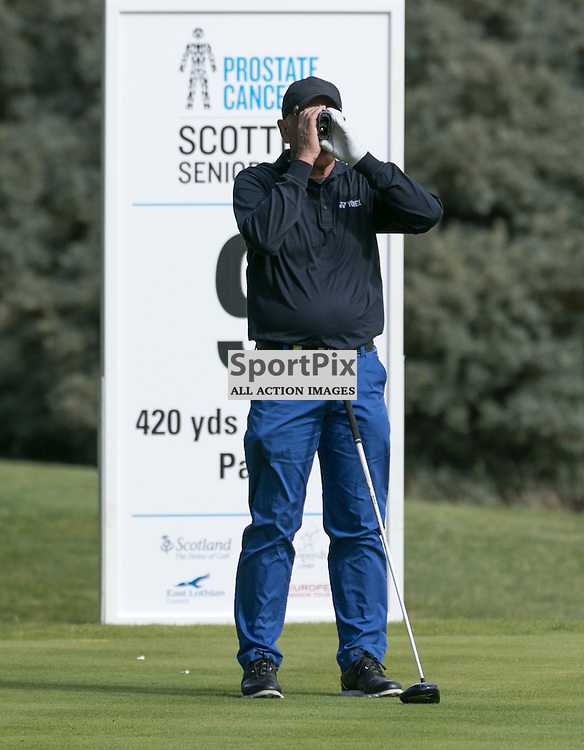 Bill Longmuir (Scotland) measures up his drive at the 9th hole (his last).  Prostate Cancer UK Scottish Senior Open, 28th August 2015