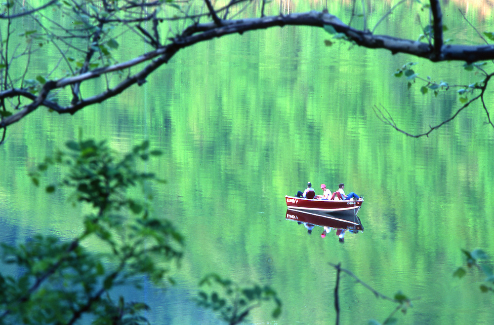 PA landscapes, lake forest reflections, fishing boat, Sinnemahoning State Park
