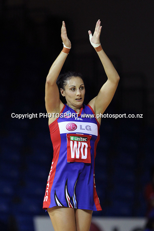 Mystics' Joline Henry acknowledges a great play. LG Northern Mystics v Southern Steel. ANZ Netball Championship. Trusts Stadium, Auckland, New Zealand. Monday 14th February 2011. Photo: Anthony Au-Yeung / photosport.co.nz