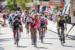 Amalie Dideriksen (DEN) wins sprint finish ahead of Lorena Wiebes (NED) and Jolien D'hoore (BEL) at Boels Ladies Tour 2018 - Stage 3, a 129km road race in Gennep, Netherlands on August 30, 2018. Photo by Sean Robinson/velofocus.com