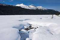 Sunwapta River in winter, Jasper National Park Alberta Canada