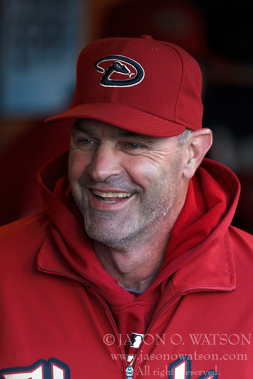 May 11, 2011; San Francisco, CA, USA;  Arizona Diamondbacks manager Kirk Gibson (23) stands in the dugout before the game against the San Francisco Giants at AT&T Park.  San Francisco defeated Arizona 4-3.