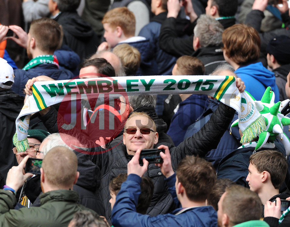 A proud Yorkshire man celebrates North Ferriby United victory at Wembley Stadium - Photo mandatory by-line: Paul Knight/JMP - Mobile: 07966 386802 - 29/03/2015 - SPORT - Football - London - Wembley Stadium - North Ferriby United v Wrexham - FA Trophy