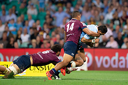March 9, 2019 - Sydney, NSW, U.S. - SYDNEY, NSW - MARCH 09: Waratahs player Curtis Rona (11) scores a try after beating the tackle of Reds player Chris Feauai-Sautia (14) at round 4 of Super Rugby between NSW Waratahs and Queensland Reds on March 09, 2019 at The Sydney Cricket Ground, NSW. (Photo by Speed Media/Icon Sportswire) (Credit Image: © Speed Media/Icon SMI via ZUMA Press)