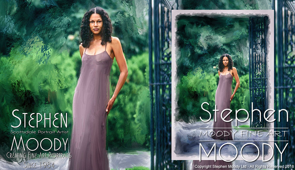 Jasmine - portrait of woman in the Oyster Bay, NY. Fine Art Portraits by Scottsdale Portrait Artist Stephen Moody - Commissioned Mixed Media Portraiture