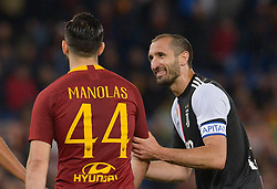 May 12, 2019 - Rome, Italy - Giorgio Chiellini and Kostas Manolas during the Italian Serie A football match between A.S. Roma and Juventus at the Olympic Stadium in Rome, on may 12, 2019. (Credit Image: © Silvia Lore/NurPhoto via ZUMA Press)