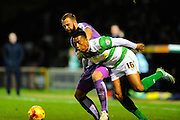 Plymouth Argyle's Jordon Forster and Yeovil Town's Tahvon Campbell battle during the Sky Bet League 2 match between Yeovil Town and Plymouth Argyle at Huish Park, Yeovil, England on 23 February 2016. Photo by Graham Hunt.