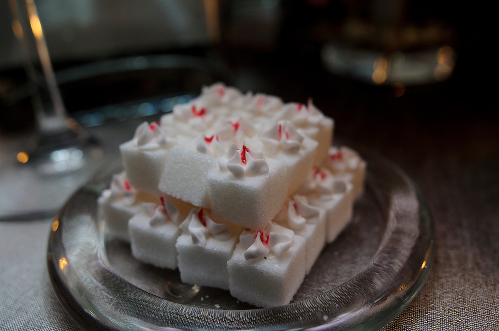 photo by Matt Roth.Saturday, April 14, 2012.Assignment ID: 30124225A..Sugar cubes made from scratch by bride Molly Palmer's cousin Deya Dresner, adorned the tables of Molly and Lee Cowan's wedding reception at the Chevy Chase Club in Washington D.C. Saturday, April 14, 2012...Molly Palmer, 29, and Lee Cowan, 46, were colleagues at NBC News, but it wasn't until The Balloon Boy story coverage in 2009 that their romance sparked.