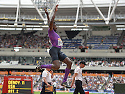 Marquis Dendy USA long jumper during the Sainsbury's Anniversary Games at the Queen Elizabeth II Olympic Park, London, United Kingdom on 25 July 2015. Photo by Mark Davies.