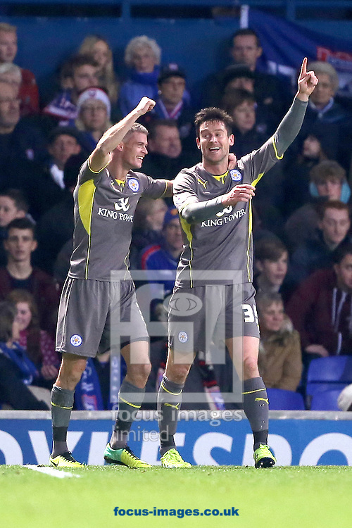 Picture by Richard Calver/Focus Images Ltd +447792 981244<br /> 23/11/2013<br /> David Nugent (right) of Leicester City is congratulated by team mate, Paul Konchesky after scoring the winning goal during the Sky Bet Championship match against Ipswich Town at Portman Road, Ipswich.