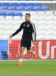 Real Madrid's Cristiano Ronaldo celebrates - Photo mandatory by-line: Joe Meredith/JMP - Mobile: 07966 386802 11/08/2014 - SPORT - FOOTBALL - Cardiff - Cardiff City Stadium - Real Madrid v Sevilla - UEFA Super Cup - Press Conference and Open Training session